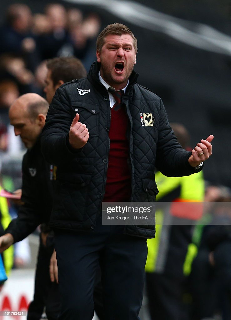 Karl Robinson, Manager of MK Dons shows his frustration during the FA Cup with Budweiser Fifth Round match between MK Dons and Barnsley at StadiumMK on February 16, 2013 in Milton Keynes, England.