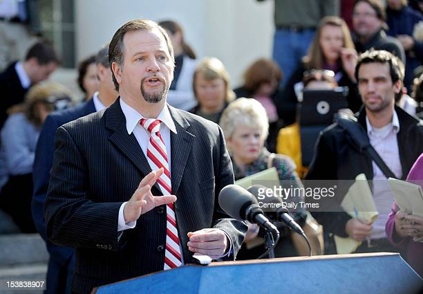 Karl Rominger defense attorney for Jerry Sandusky talks to the media after the sentencing on Tuesday October 9 at the Bellefonte Courthouse Sandusky...