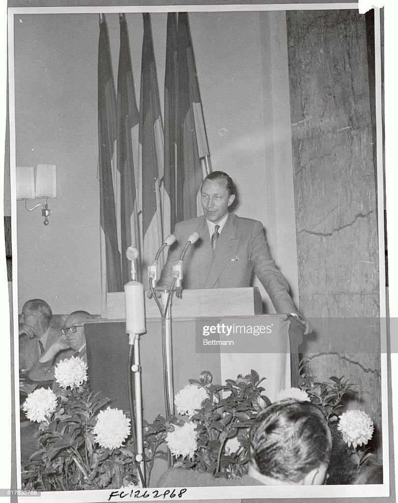 Karl SchmidtWittmack member of the West German Bundestag who fled to East Germany is shown at a redstage news conference is East Berlin as he...