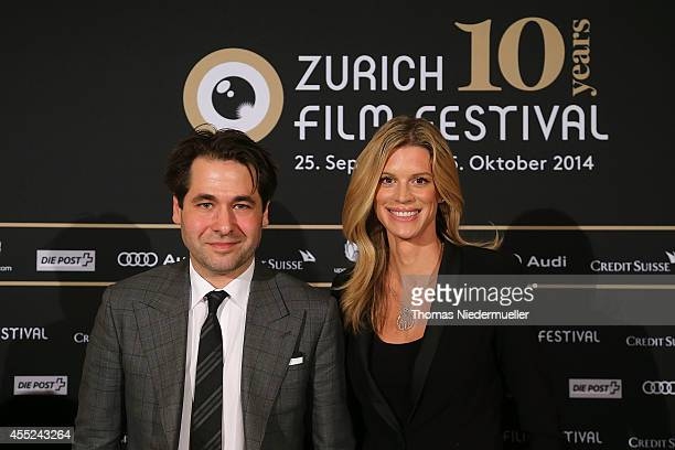 Karl Spoerri artistic director of the Zurich Film Festival and Nadja Schildknecht managing director pose for a picture during the press conference of...