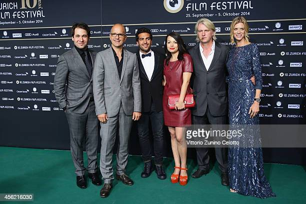 Karl Spoerri Christoph Maria Herbst Elyas M'Barek Cosma Shiva Hagen Detlev Buck and Nadja Schildknecht attend the 'Maennerhort' Green Carpet Arrivals...