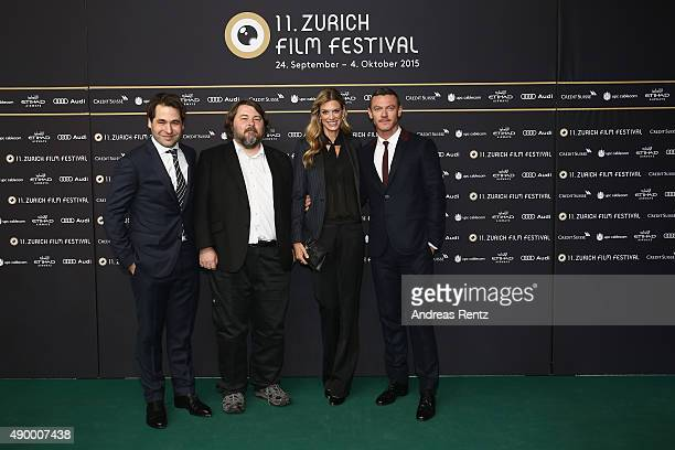 Karl Spoerri director Ben Wheatley actor Luke Evans and Nadja Schildknecht attend the 'HighRise' Premiere during the Zurich Film Festival on...