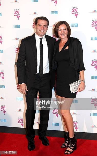 Karl Stefanovic and Cassandra Thorburn arrive at Richard Wilkins 25 Year Anniversary Fundraiser For Down Syndrome at Fox Studios on June 16 2012 in...