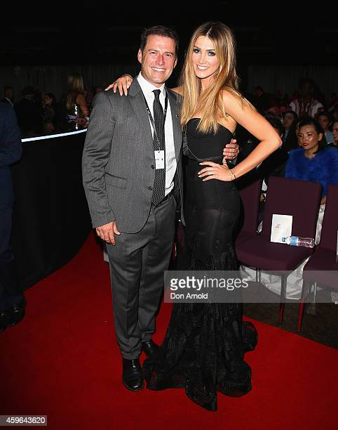 Karl Stefanovic and Delta Goodrem pose during the 28th Annual ARIA Awards 2014 at the Star on November 26 2014 in Sydney Australia
