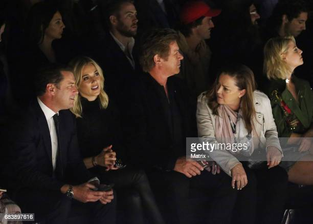 Karl Stefanovic and girlfriend Jasmine Yarbrough attend the MercedesBenz Fashion Week Australia first runway show on May 15 2017 in Sydney Australia