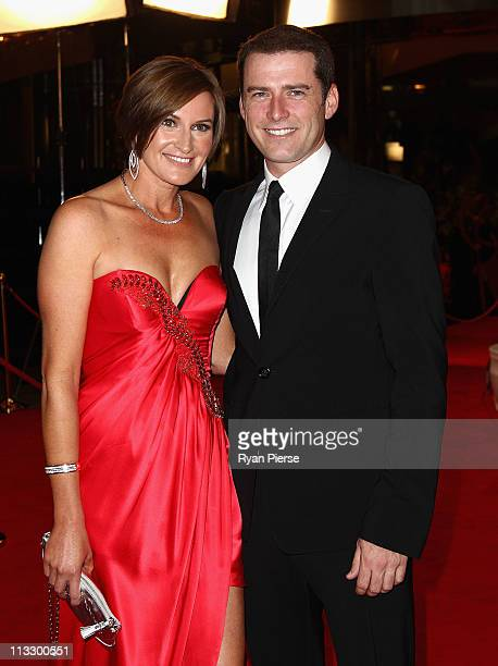 Karl Stefanovic and his wife Cassandra Thorburn arrive on the red carpet ahead of the 2011 Logie Awards at Crown Palladium on May 1 2011 in Melbourne...