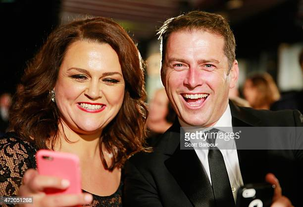 Karl Stefanovic poses for a selfie with Chrissie Swan at the 57th Annual Logie Awards at Crown Palladium on May 3 2015 in Melbourne Australia