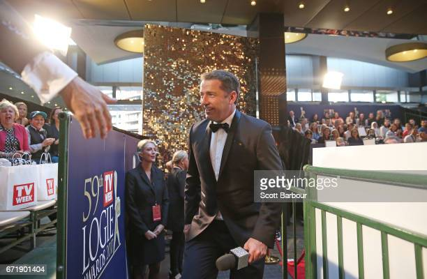 Karl Stefanovic speaks to the crowd at the 59th Annual Logie Awards at Crown Palladium on April 23 2017 in Melbourne Australia