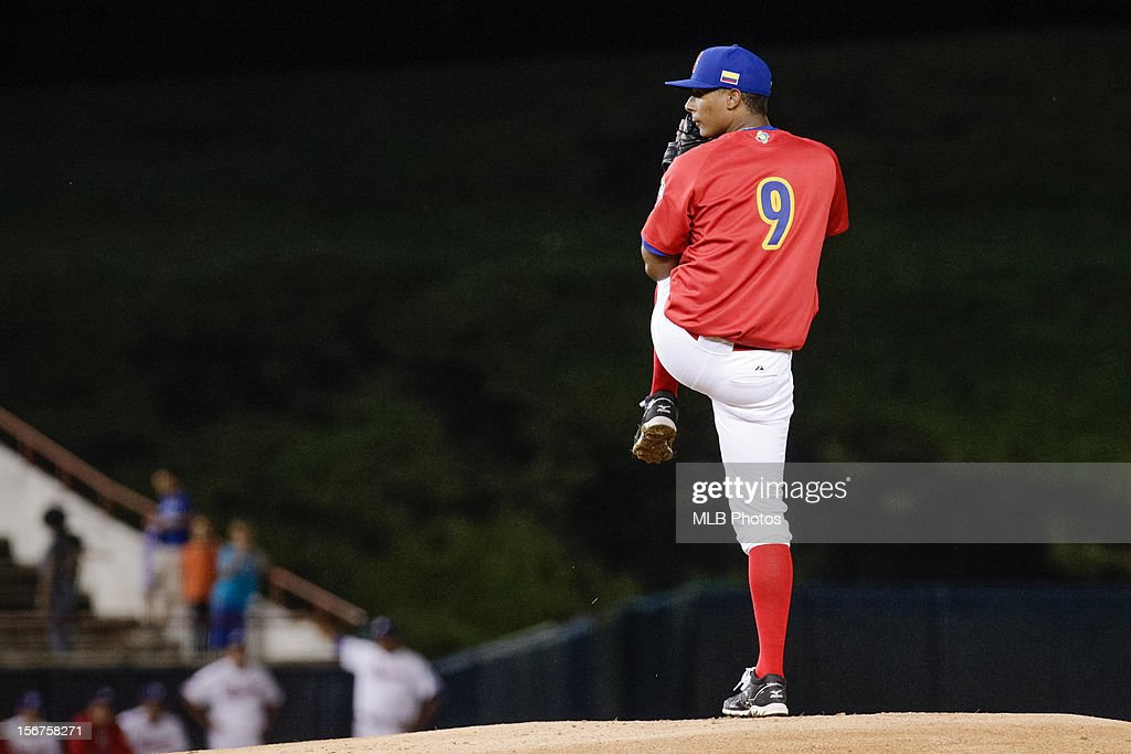 Karl Triana #9 of Team Colombia pitches during Game 5 of the Qualifying Round of the World Baseball Classic against Team Panamaat Rod Carew National Stadium on Sunday, November 18, 2012 in Panama City, Panama.