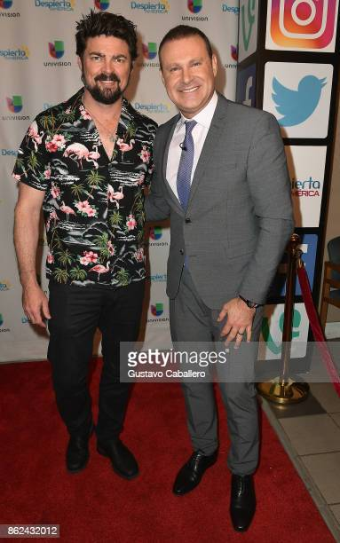 Karl Urban and Alan Tacher are on the set to promote the movie THOR RAGNAROK on Despierta America morning show at Univision Studios on at Univision...