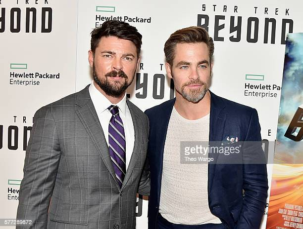 Karl Urban and Chris Pine attend the 'Star Trek Beyond' New York Premiere at Crosby Street Hotel on July 18 2016 in New York City