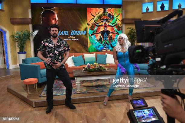 Karl Urban and Francisca Lachape are on the set to promote the movie THOR RAGNAROK on Despierta America morning show at Univision Studios on at...