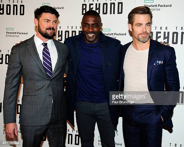 Karl Urban Idris Elba and Chris Pine attend the Hewlett Packard Enterprise Presents a New York Special screening of 'Star Trek Beyond' at the Crosby...