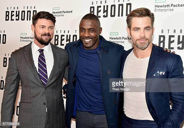 Karl Urban Idris Elba and Chris Pine attend the 'Star Trek Beyond' New York Premiere at Crosby Street Hotel on July 18 2016 in New York City