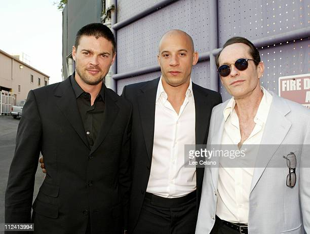Karl Urban Vin Diesel and David Twohy during 'The Chronicles of Riddick' World Premiere Red Carpet at Universal City Walk in Los Angeles CA United...