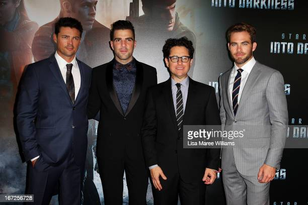 Karl Urban Zachary Quinto Director JJ Abrams and Chris Pine arrive at the Australian premiere of 'Star Trek Intro Darkness' at Event Cinemas on April...