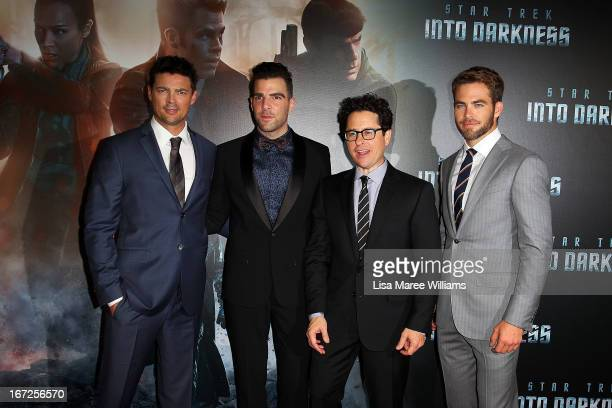 Karl Urban Zachary QuintoDirector JJ Abrams and Chris Pine arrive at the Australian premiere of 'Star Trek Intro Darkness' at Event Cinemas on April...