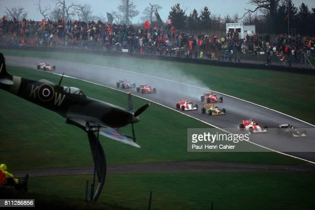 Karl Wendlinger Ayrton Senna Michael Schumacher Sauber C12 McLaren Ford MP4/8 Grand Prix of Europe Donington Park 11 April 1993