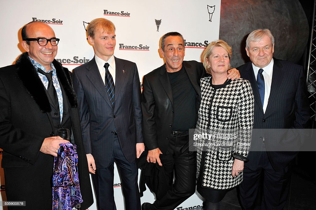 Karl Zero, Alexandre Pougatchev, Thierry ardisson and Christiane Vulvert attend France Soir Launch Party in Paris.