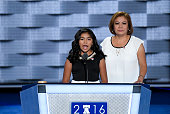 Karla and Francisca Ortiz of Las Vegas speak on stage during the Democratic National Convention in Philadelphia on Monday July 25 2016 Karla is an...