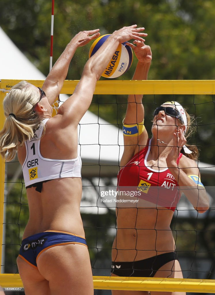 Karla Borger of Germany and Stefanie Schwiger of Austria (R) in action during day third of the FIVB Beach Volleyball Sao Paulo Grand Slam 2013 at Parque Villa Lobos on October 10, 2013 in Sao Paulo, Brazil.