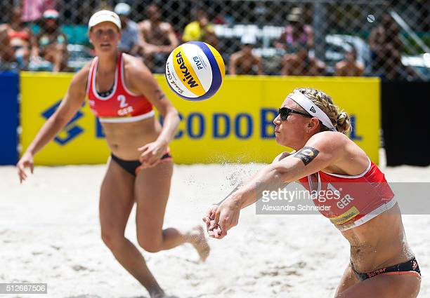 Karla Borger of Germany bump the ball during the quarters final match against Argentina at Pajucara beach during day five of the FIVB Beach...