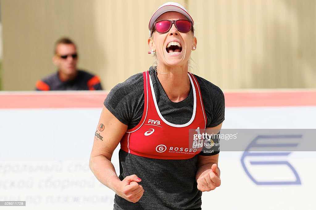 Karla Borger of Germany celebrates a point during 3d day of FIVB Sochi Open presented by VTB on May 5, 2016 in Sochi, Russia.