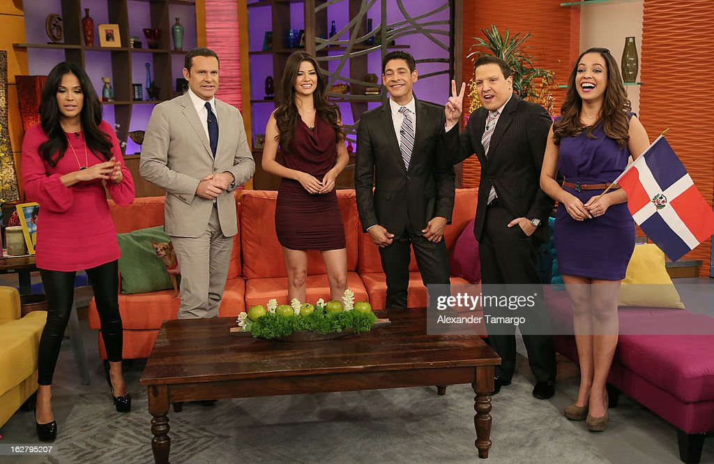 Karla Martinez, Alan Tacher, Ana Patricia Gonzalez, Johnny Lozada, Raul Gonzalez and Stephanie Severino appear on Univision's Despierta America to promote her film 'The Call' at Univision Headquarters on February 27, 2013 in Miami, Florida.