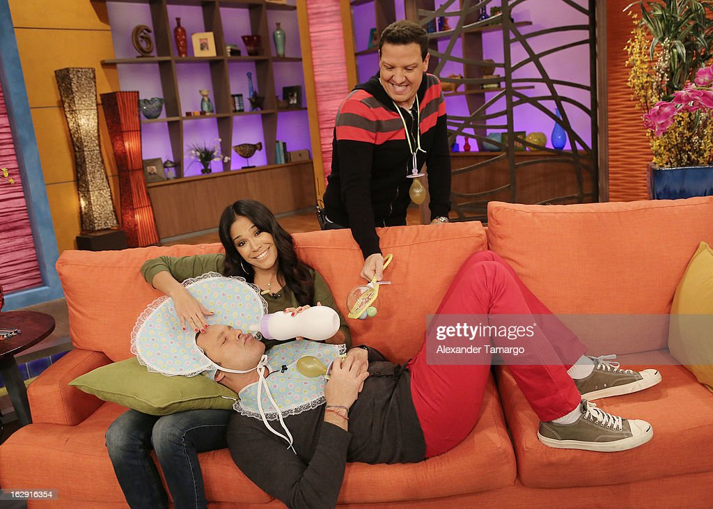 Karla Martinez, Alan Tacher and Raul Gonzalez celebrate Univision's Tlnovelas cable network first anniversary on Despierta America at Univision Headquarters on March 1, 2013 in Miami, Florida.