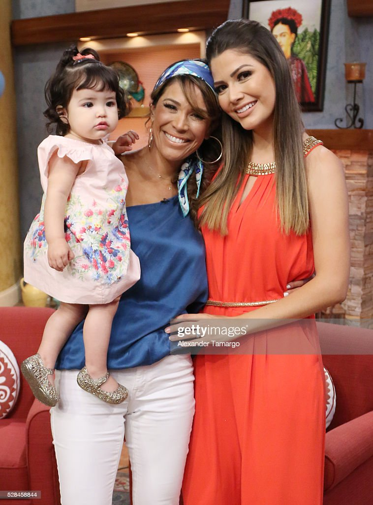 <a gi-track='captionPersonalityLinkClicked' href=/galleries/search?phrase=Karla+Martinez&family=editorial&specificpeople=732238 ng-click='$event.stopPropagation()'>Karla Martinez</a> and Ana Patrica Gamez are seen with Ana's daughter Giulietta on the set of 'Despierta America' at Univision Studios on May 5, 2016 in Miami, Florida.