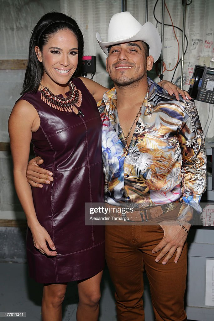Karla Martinez and Espinoza Paz are seen on the set of Univision's Despierta America morning show at Univision Headquarters on March 10, 2014 in Miami, Florida.