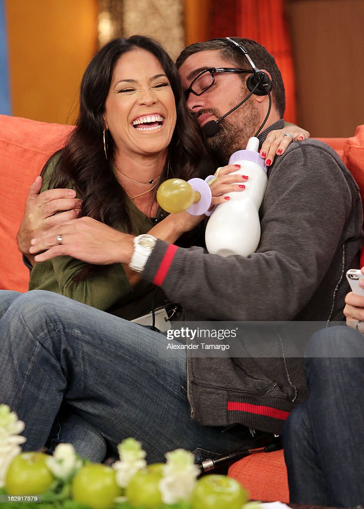 Karla Martinez and Javier Aviles celebrate Univision's Tlnovelas cable network first anniversary on Despierta America at Univision Headquarters on March 1, 2013 in Miami, Florida.