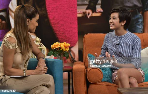 Karla Martinez and Peyton Elizabeth Lee is seen on the set of 'Despierta America' to promote 'Ani Mack' at Univision Studios on June 20 2017 in Miami...