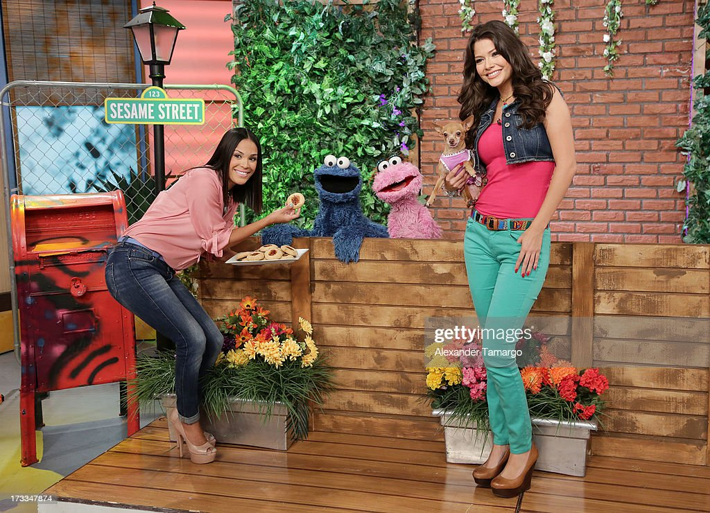 <a gi-track='captionPersonalityLinkClicked' href=/galleries/search?phrase=Karla+Martinez&family=editorial&specificpeople=732238 ng-click='$event.stopPropagation()'>Karla Martinez</a>, Cookie Monster, Lola and Ana Patricia Gonzalez are seen during Sesame Street's visit of Univision's 'Despierta America' at Univision Headquarters on July 12, 2013 in Miami, Florida.