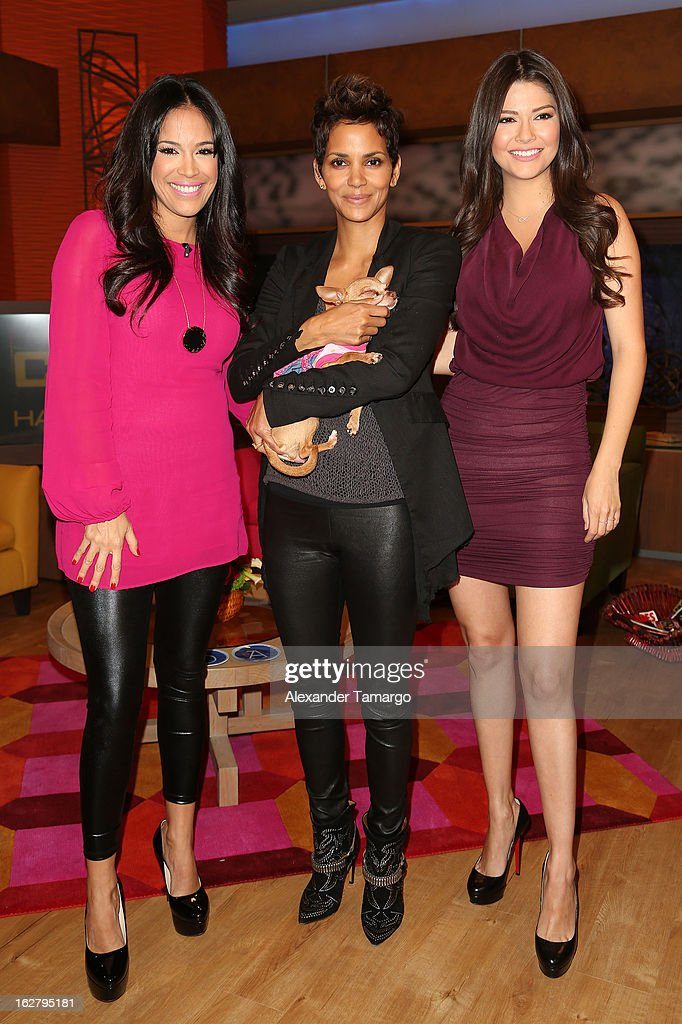 Karla Martinez, Halle Berry and Ana Patricia Gonzalez appear on Univision's Despierta America to promote her film 'The Call' at Univision Headquarters on February 27, 2013 in Miami, Florida.