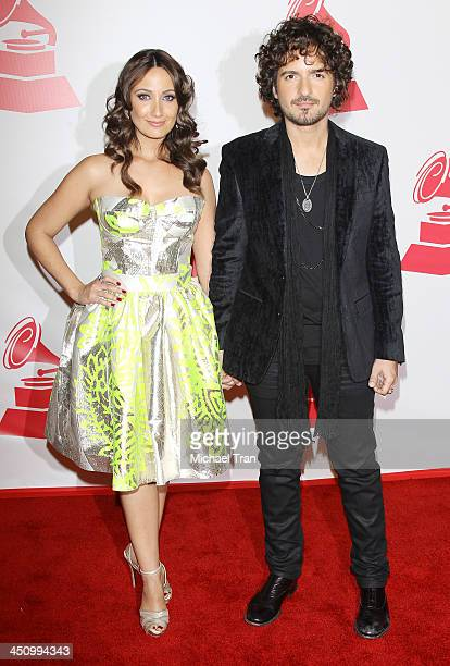 Karla Monroig and Tommy Torres arrive at the 2013 Latin Recording Academy Person of the Year honoring Miguel Bose held at Mandalay Bay Resort and...