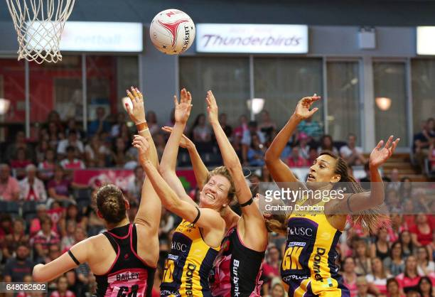 Karla Mostert of the Lightning competes in the air during the round three Super Netball match between the Thunderbirds and the Lightning at Priceline...