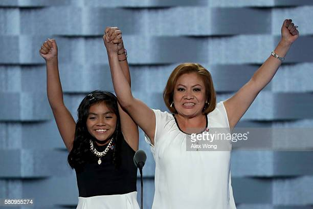 Karla Ortiz and her mother Francisca Ortiz deliver remarks on the first day of the Democratic National Convention at the Wells Fargo Center July 25...