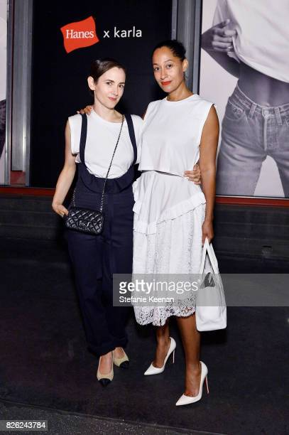 Karla Welch and Tracee Ellis Ross at x karla Launch Party at Maxfield on August 3 2017 in Los Angeles California