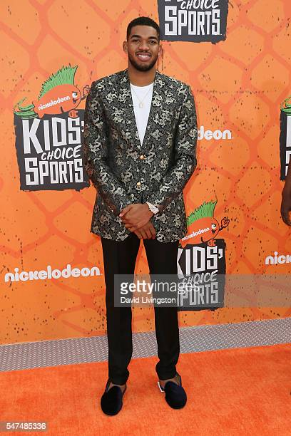 KarlAnthony Towns arrives at the Nickelodeon Kids' Choice Sports Awards 2016 at the UCLA's Pauley Pavilion on July 14 2016 in Westwood California