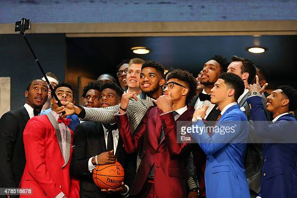 KarlAnthony Towns holds a selfie stick with other top prospects before the start of the First Round of the 2015 NBA Draft at the Barclays Center on...