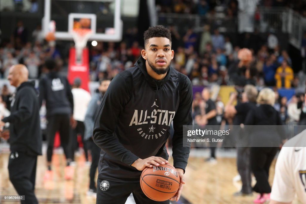Karl-Anthony Towns #32 of Team Stephen participates in the NBA All-Star practice as part of the 2018 NBA All-Star Weekend on February 17, 2018 at the Verizon Up Arena at the LACC in Los Angeles, California.