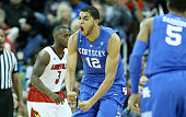 KarlAnthony Towns of the Kentucky Wilcats celebrates during the game against the Louisville Cardinals at KFC YUM Center on December 27 2014 in...