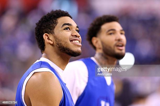 KarlAnthony Towns of the Kentucky Wildcats looks on during practice for the NCAA Men's Final Four at Lucas Oil Stadium on April 3 2015 in...