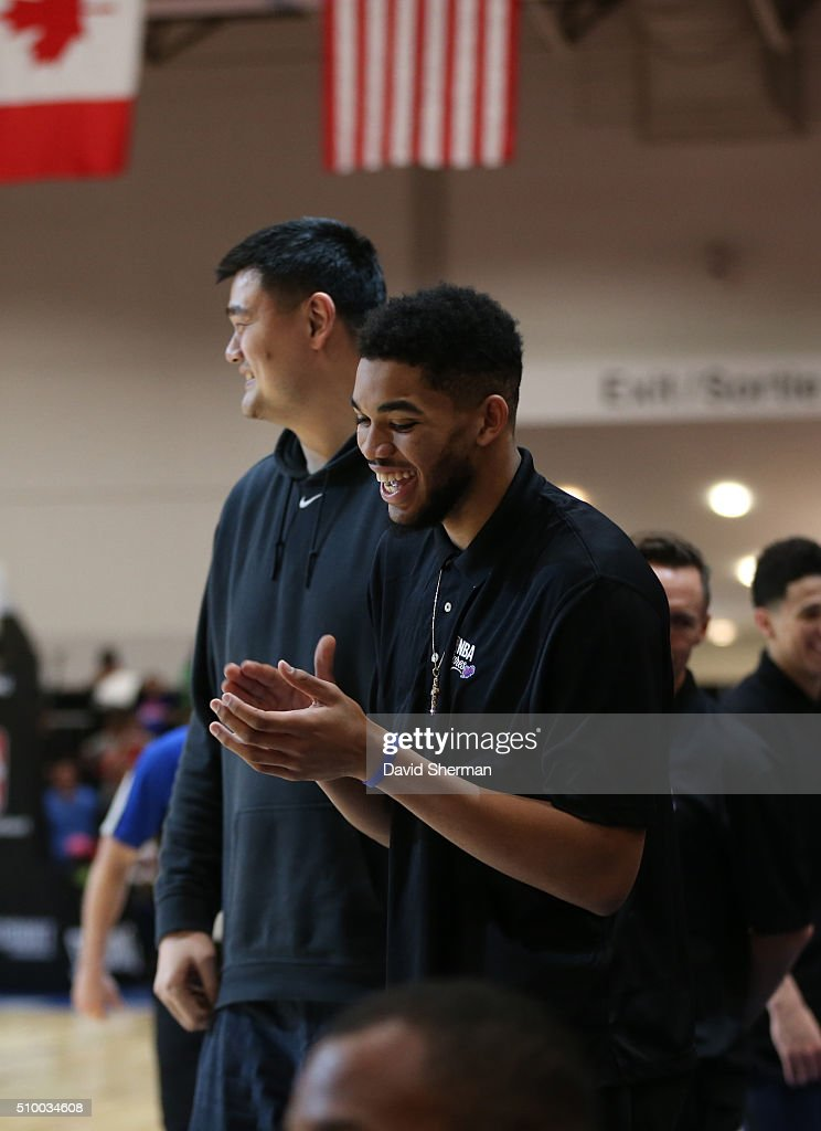 Karl-Anthony Towns of the Minnesota Timberwolves applauds during the NBA Cares Special Olympics Unified Game as part of 2016 All-Star Weekend at the Enercare Centre on February 13, 2016 in Toronto, Ontario, Canada.