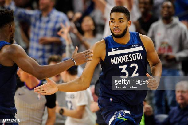 KarlAnthony Towns of the Minnesota Timberwolves celebrates making a basket during the game against the Oklahoma City Thunder on October 27 2017 at...