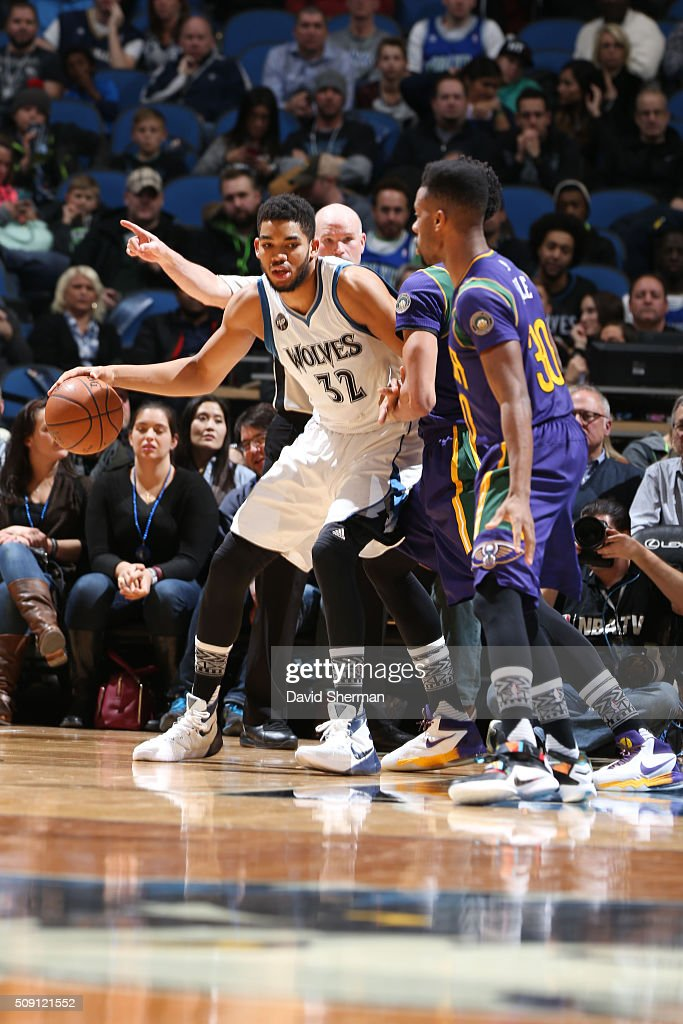 Karl-Anthony Towns #32 of the Minnesota Timberwolves defends the ball against the New Orleans Pelicans during the game on February 8, 2016 at Target Center in Minneapolis, Minnesota.