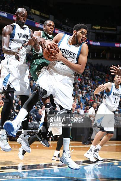 KarlAnthony Towns of the Minnesota Timberwolves grabs the rebound against the Milwaukee Bucks during a preseason game on October 23 2015 at Target...