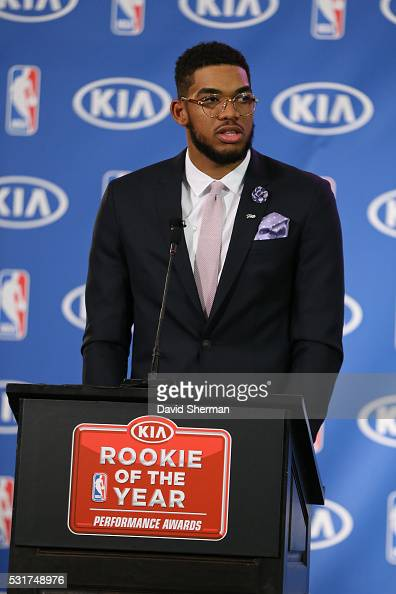 KarlAnthony Towns of the Minnesota Timberwolves is presented with the Eddie Gottlieb trophy as he is named the 2015 2016 Kia NBA Rookie of the Year...