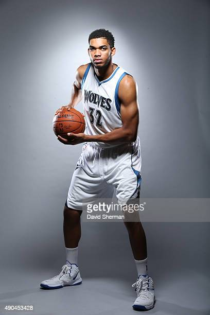 KarlAnthony Towns of the Minnesota Timberwolves pose for portraits during 2015 Media Day on September 28 2015 at Target Center in Minneapolis...
